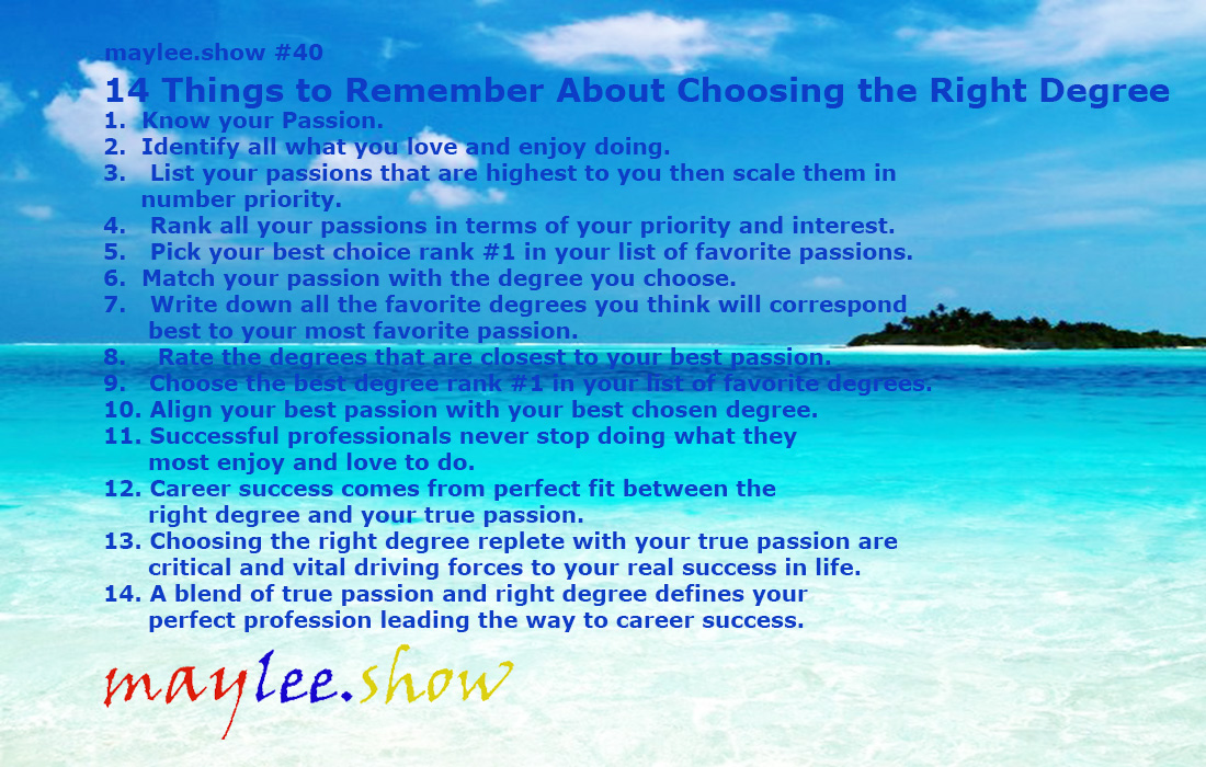 14 Things to Remember About Choosing the Right Degree maylee.show 40