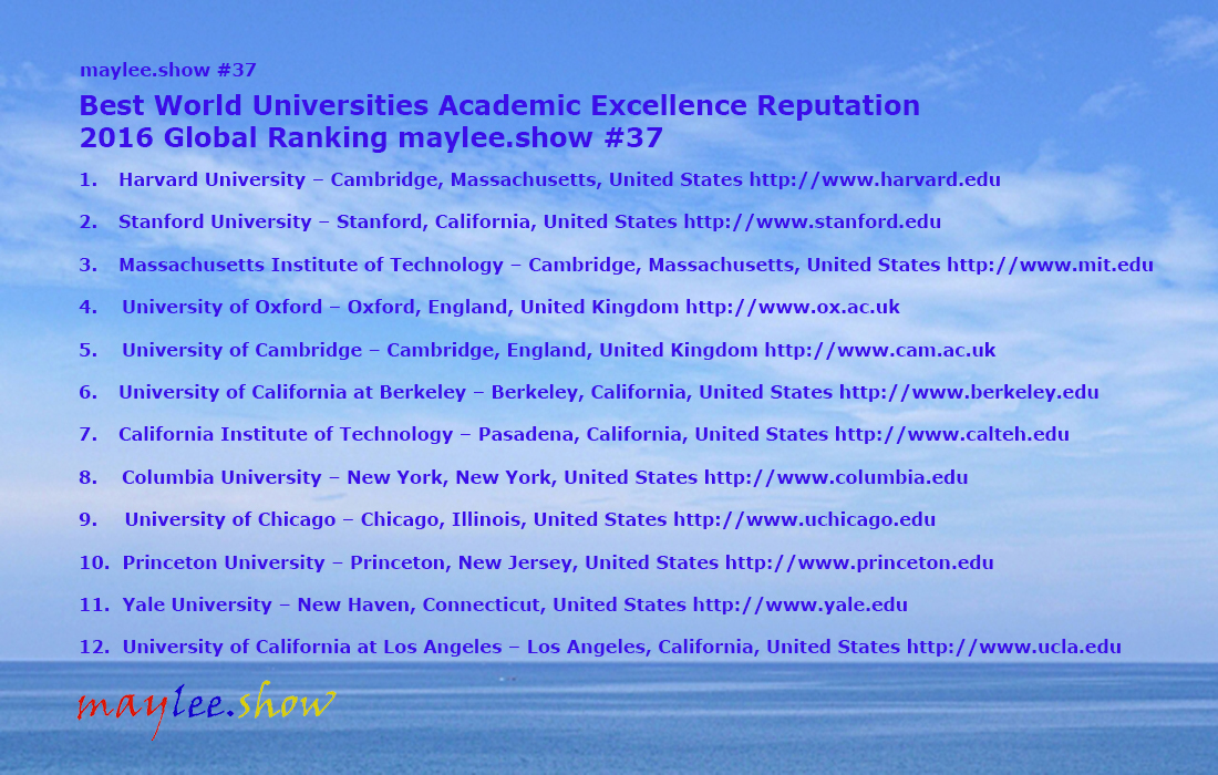 37 maylee.show 12 Best World Universities Academic Excellence Reputation 2016 Global Ranking