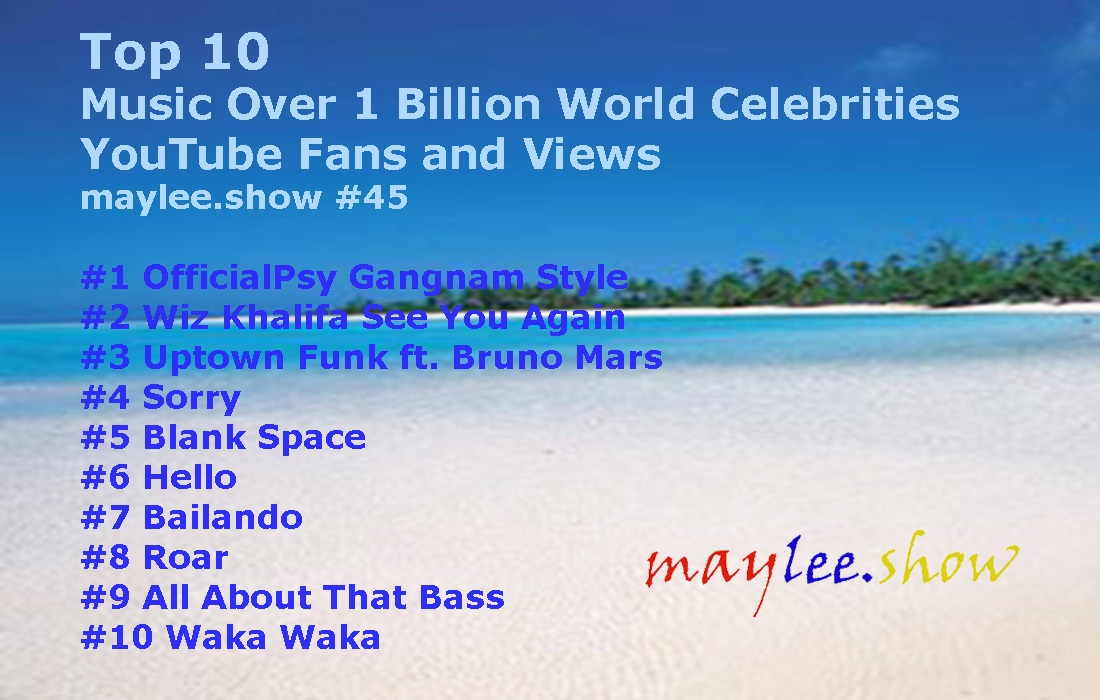 45 maylee.show top 10 world celebrities music videos over 1 billion youtube views