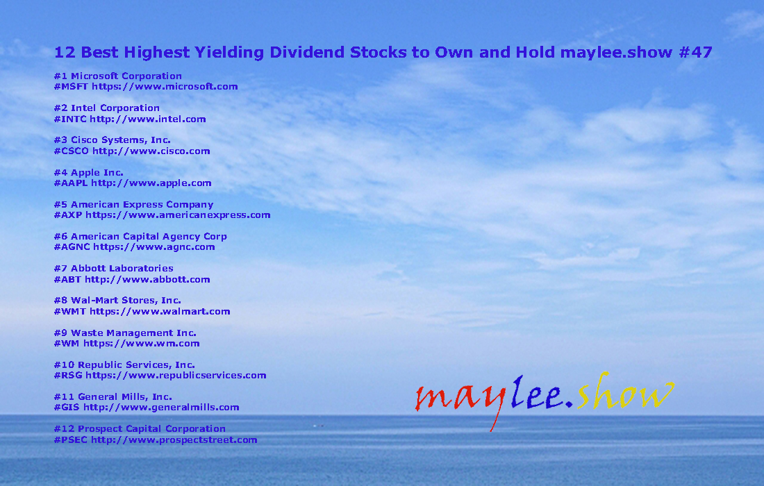 maylee.show 47 12 best highest yielding dividend stocks to own and hold